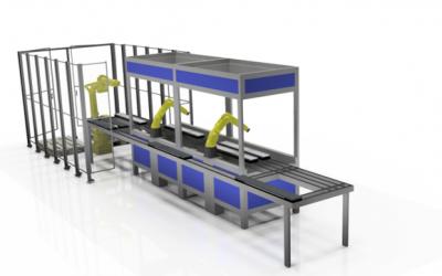 Komplex monteringsutrustning med många funktioner på liten yta.
